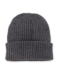 Moncler Ribbed Cashmere Beanie Hat Gray