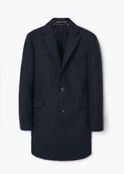 Mango Tailored Wool Blend Overcoat Grey