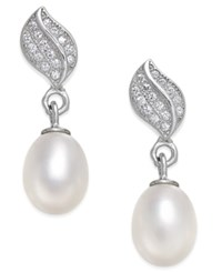 Macy's Cultured Freshwater Pearl 7X9mm And Cubic Zirconia Leaf Top Drop Earrings In Sterling Silver