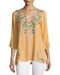 Johnny Was Tropic 3 4 Sleeve Embroidery Blouse Women's