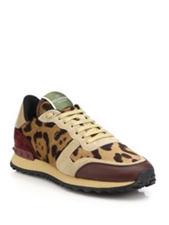 Valentino Leopard Print Calf Hair Leather And Suede Sneakers Brown