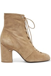 Laurence Dacade Milly Lace Up Suede Ankle Boots Sand
