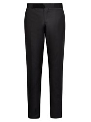 Giorgio Armani Silk Panelled Wool Blend Tuxedo Trousers Navy
