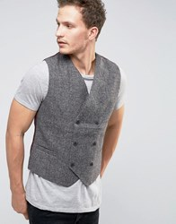 Selected Homme Double Breasted Waistcoat Grey