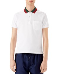 Gucci Short Sleeve Pique Knit Polo W Striped Collar White Size Xxx Large