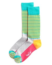 Happy Socks Men's Half Striped Dress Socks Grey Pink