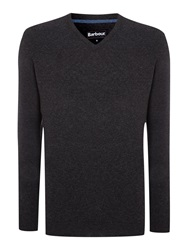 Barbour Essential Lambswool V Neck Charcoal