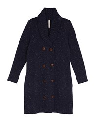 Melissa Mccarthy Seven7 Plus Marled Double Breasted Long Cardigan Blue
