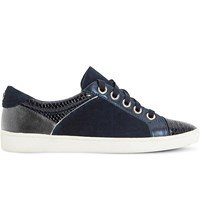 Dune Euston Leather And Suede Trainers Navy Reptile