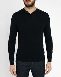 Ikks Navy Leather Collar Knitted Grandad Collar Sweater Blue