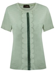 Andrea Bogosian Scalloped T Shirt Green