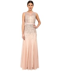 Adrianna Papell Beaded Illusion Gown Prom Blush Women's Dress Pink