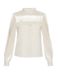 Self Portrait Lace Panelled Cotton And Silk Blend Top White