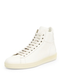 Tom Ford Russel Leather High Top Sneaker White