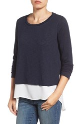 Gibson Women's Mixed Media Layered Look Top Navy Ivory