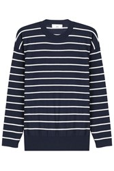 Ami Alexandre Mattiussi Wool Striped Knit Pullover Blue