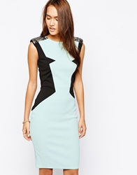 Little Mistress Bodycon Dress With Jacquard Panel Mint