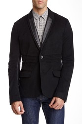 Rogue Wool Leather Trim Blazer Black