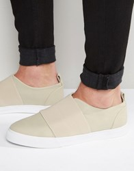 Asos Trainers In Stone With Elastic Strap Stone