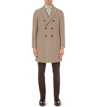 Lardini Double Brested Alpaca Blend Coat Stone