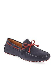 Saks Fifth Avenue Suede Lace Up Drivers Navy Red