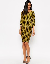 Ax Paris Midi Skirt In Dogtooth Navyyellow
