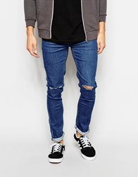 Another Influence Super Skinny Ripped Knee Jeans Blue