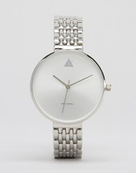 Asos Large Tonal Face Watch With Skinny Bracelet Strap Silver