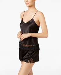 Flora Nikrooz Adeline Charmeuse Cami And Shorts Pajama Set Black