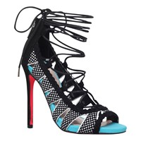 Carvela Guard Lace Up Stiletto Sandals Black Comb
