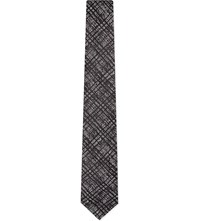 Duchamp Shadow Tartan Silk Tie Black