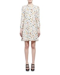 Alexander Mcqueen Obsession Print 3 4 Sleeve Shift Dress Ivory Mix