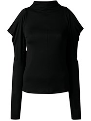 G.V.G.V. Open Shoulder Jersey Top Black