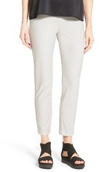 Petite Women's Eileen Fisher Stretch Crepe Slim Ankle Pants Silver
