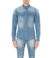 Givenchy Distressed Denim Shirt Pale Blue Sky Blue