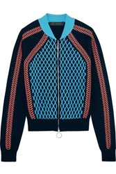 Versace Stretch Wool Blend Bomber Jacket Bright Blue
