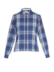 Sea Contrast Back Plaid Flannel Shirt