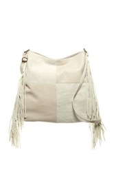 T Shirt And Jeans Patchwork Fringe Tote White
