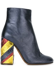 L'autre Chose Metallic Striped Heel Ankle Boots Blue