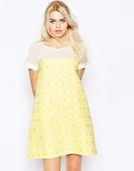 Traffic People Shift Dresss In Daisy Jacquard Yellow