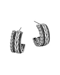 John Hardy Sterling Silver Modern Chain Small Hoop Earrings With Black Sapphire Black Silver