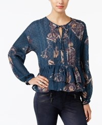 William Rast Devon Embroidered Printed Peasant Top Twilight Teal