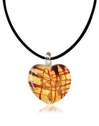 Antica Murrina Veneziana Passione Murano Glass Heart Pendant Red Gold