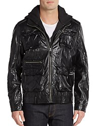 Members Only Hooded Faux Leather Jacket Black