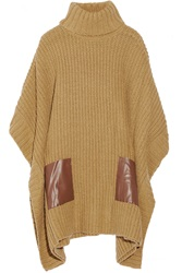 Michael Michael Kors Faux Leather Trimmed Ribbed Knit Poncho Nude