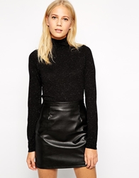 Whistles Ella Cropped Jumper In Sparkle Knit Black