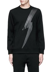 Neil Barrett Leather Thunderbolt Side Zip Sweatshirt Black