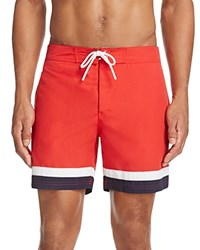 Lacoste Color Block Swim Trunks Red White