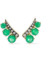 Jemma Wynne 18 Karat Gold Emerald And Diamond Earrings