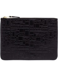 Comme Des Garcons Wallet Embossed Leather Zip Pouch Black